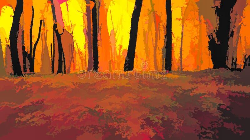 деревья в парке с желтыми листьями бесплатная иллюстрация