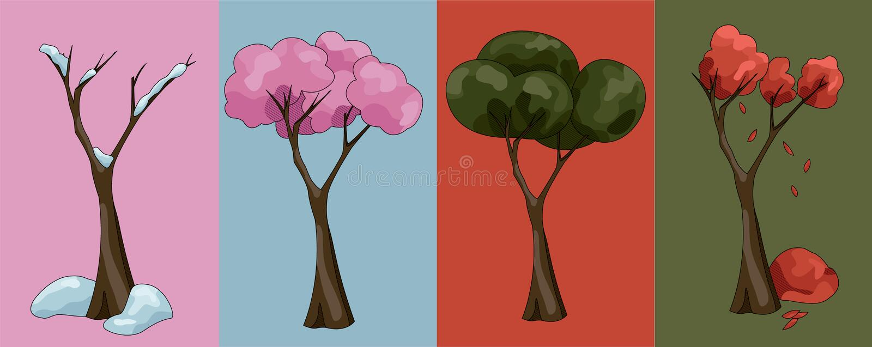 Деревья в 4 сезонах иллюстрация штока