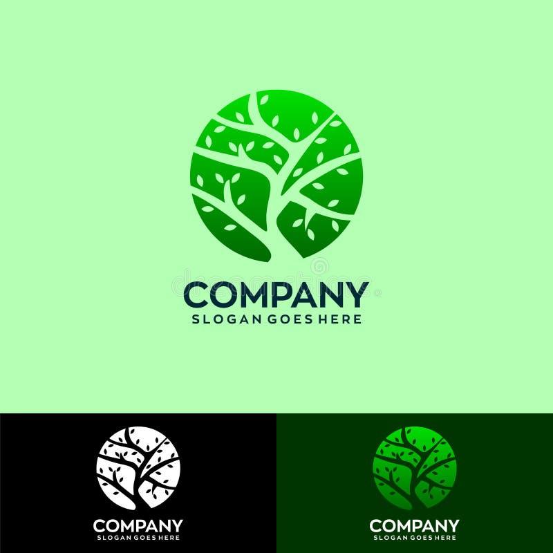 Деревья в уникальном логотипе дизайна круга иллюстрация вектора