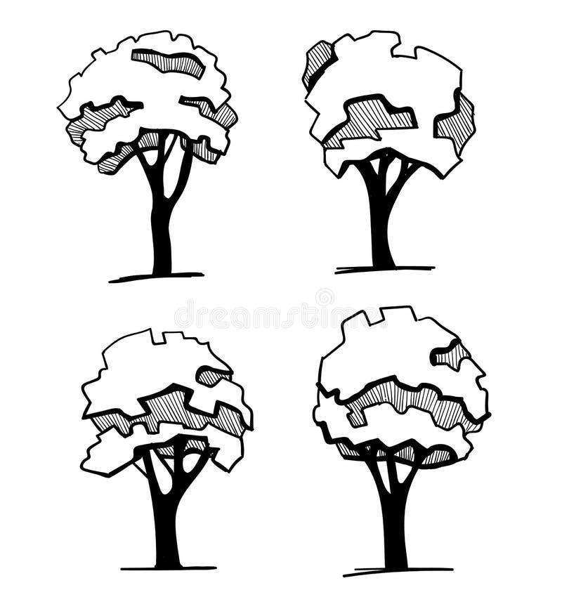 Деревья для дизайна ландшафта Различной деревья нарисованные рукой изолированные на белой предпосылке, эскизе, архитектурноакусти иллюстрация вектора
