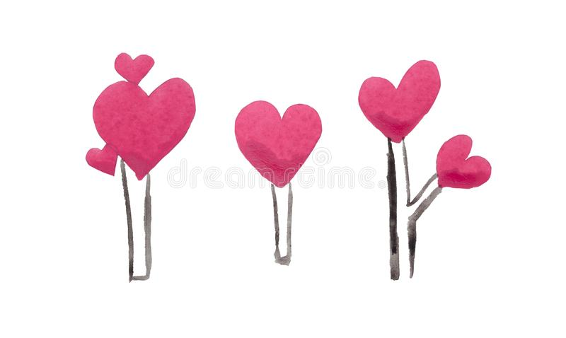 Деревья ` дня ` s валентинки St акварели парка ` влюбленности романтичного для любовников иллюстрация вектора