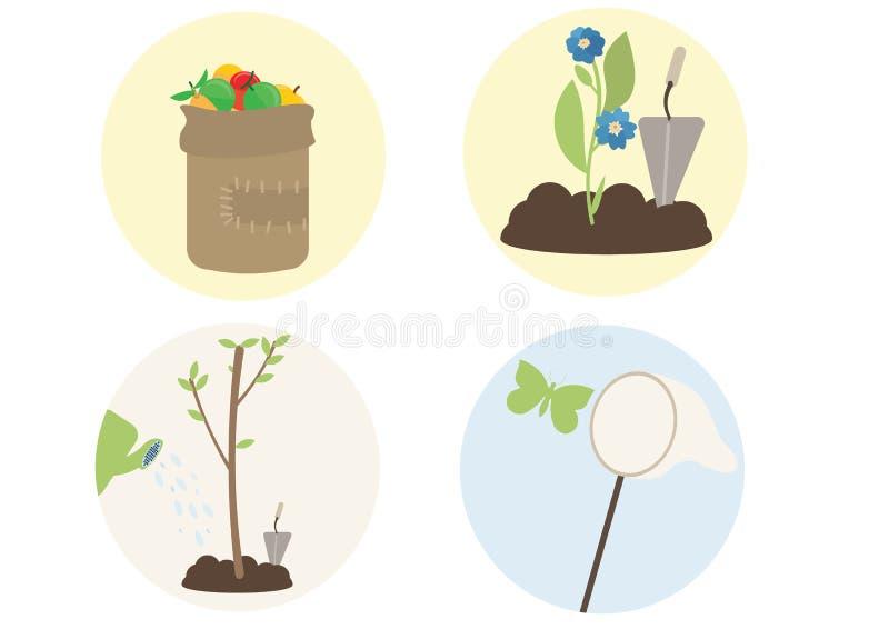 Деревья завода мультфильма печати плоские цветут рудоразборка плода бабочек задвижки иллюстрация вектора