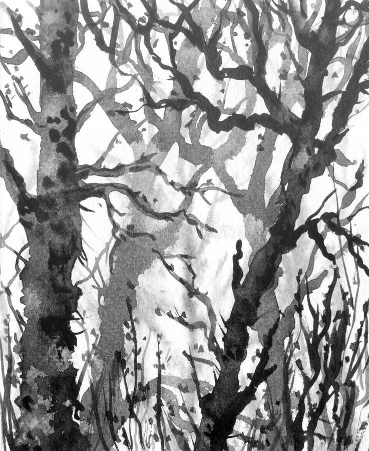 Деревья зимы в тумане иллюстрация штока