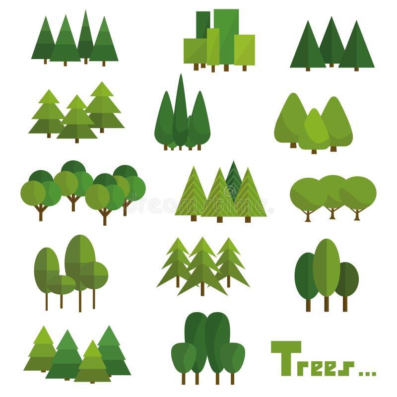 Деревья изолированные на белой предпосылке Красивый набор деревьев зеленого цвета вектора в группе иллюстрация штока