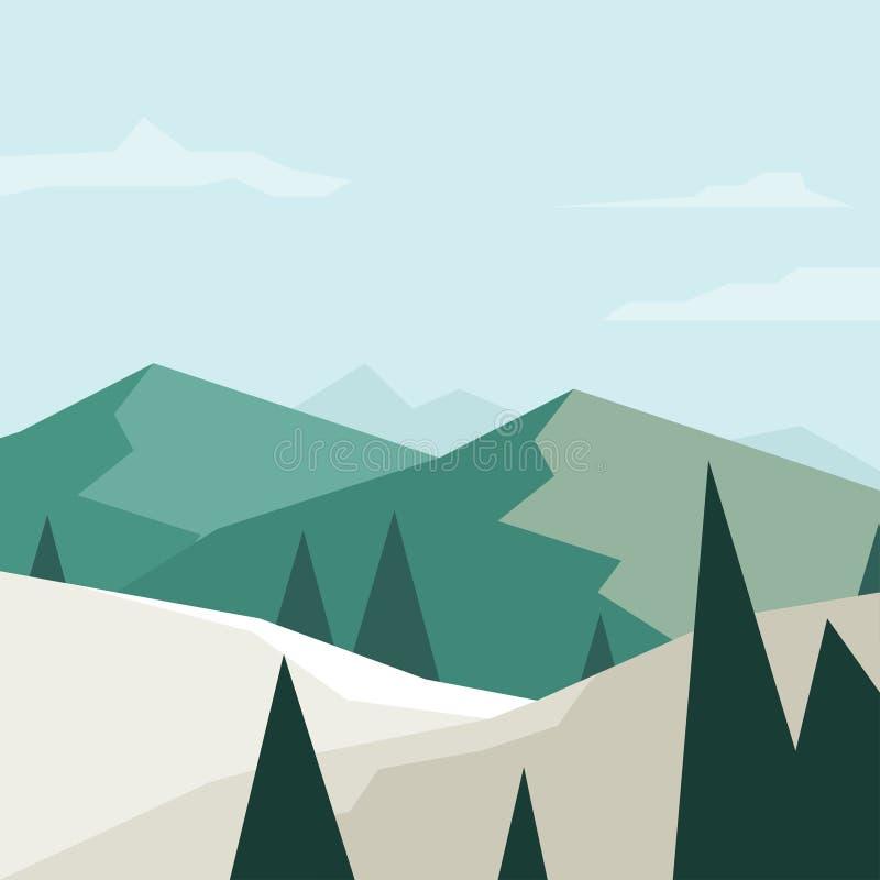 Деревья и вектор ландшафта бесплатная иллюстрация