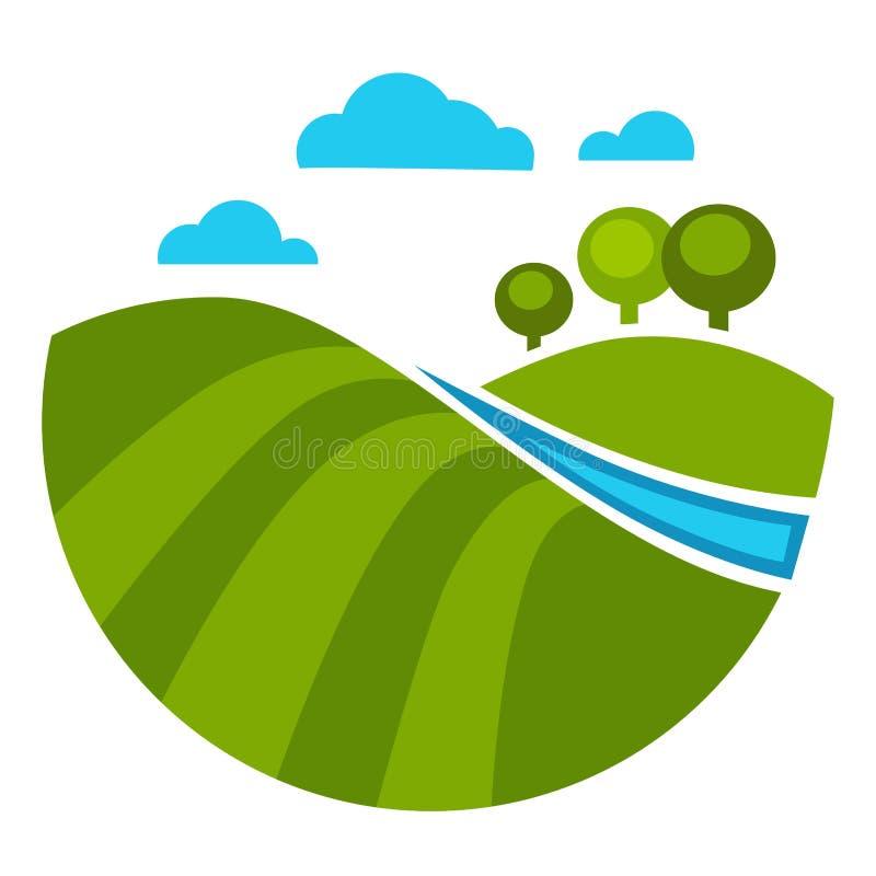 Деревья и лужайка речной воды и зеленой травы бесплатная иллюстрация