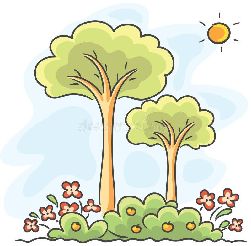 Деревья и рисовать цветков иллюстрация штока