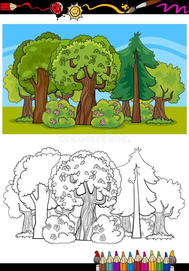 Деревья и шарж леса для книжка-раскраски бесплатная иллюстрация