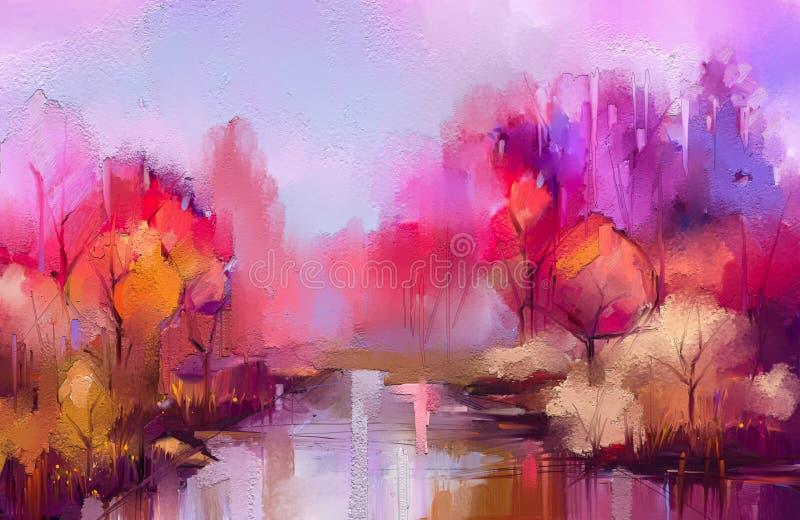 Деревья осени картины маслом красочные Semi абстрактное изображение леса, ландшафты с желтым - красные лист и озеро иллюстрация штока