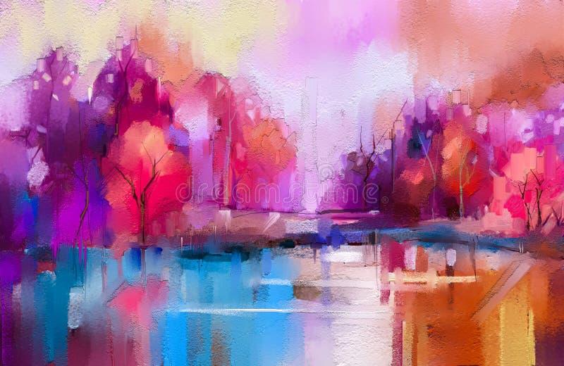 Деревья осени картины маслом красочные Semi абстрактное изображение леса, ландшафты с желтым - красные лист и озеро иллюстрация вектора
