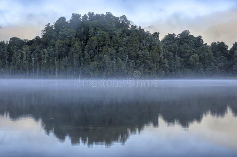Деревья отраженные в озере Kaniere стоковые фотографии rf