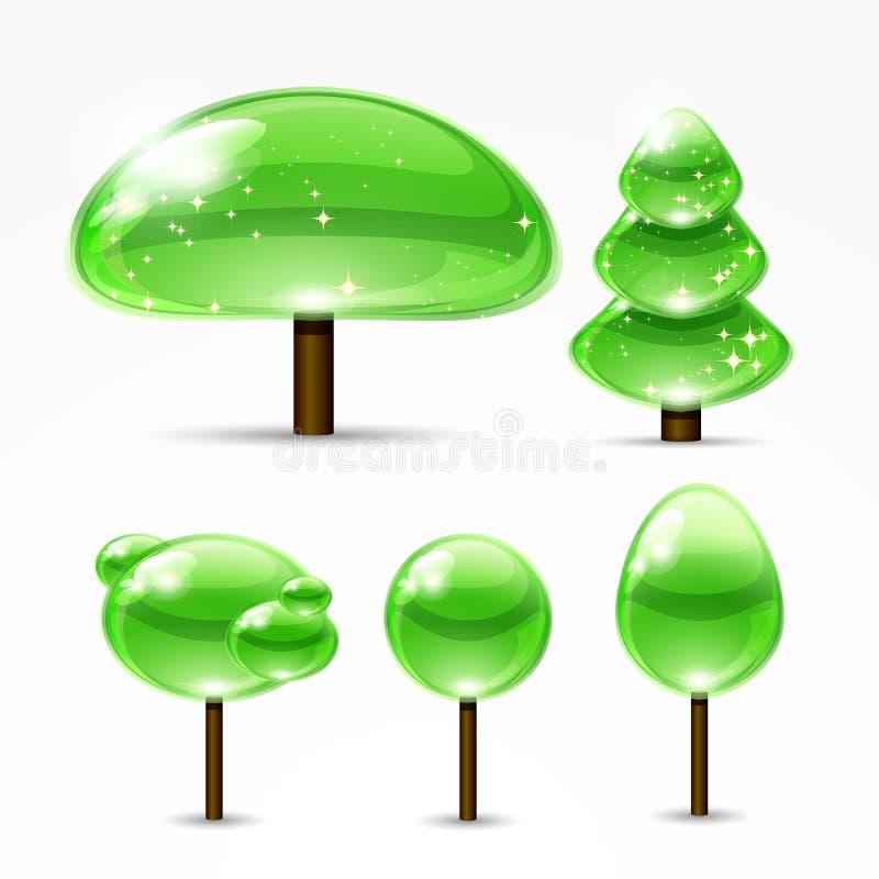 Деревья сети абстрактные Комплект лоснистых значков иллюстрация штока