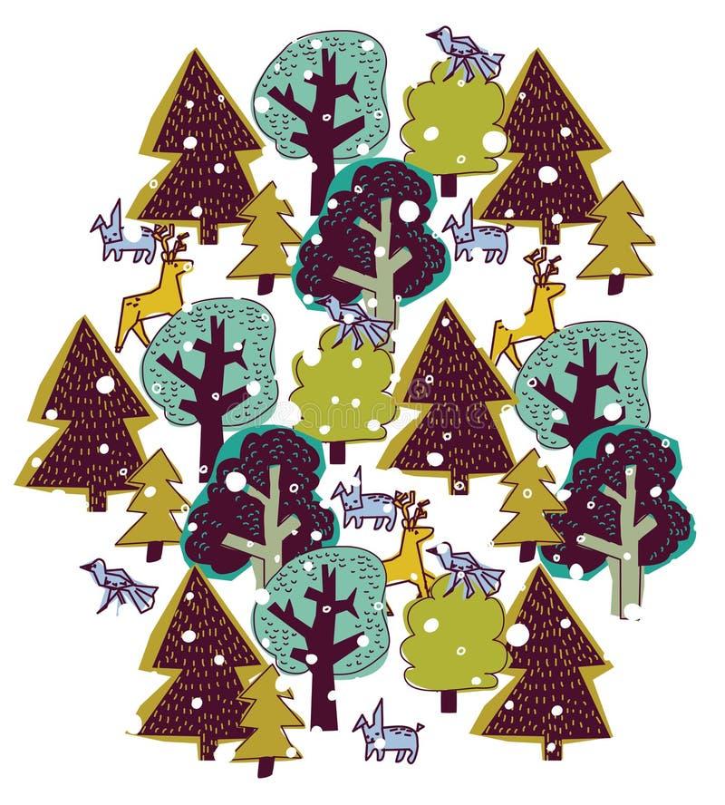 Деревья снега зимы и изолят диких животных круглый на белизне бесплатная иллюстрация