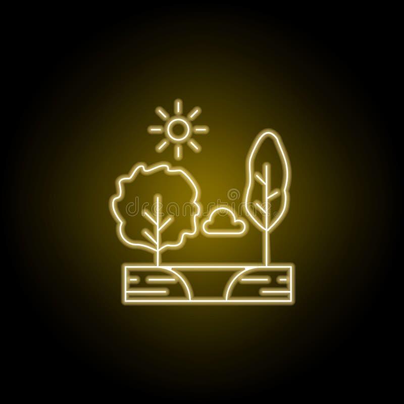 Деревья, солнечные, облако, линия значок озера в желтом неоновом стиле Элемент иллюстрации ландшафтов Знаки и символы выравнивают иллюстрация вектора