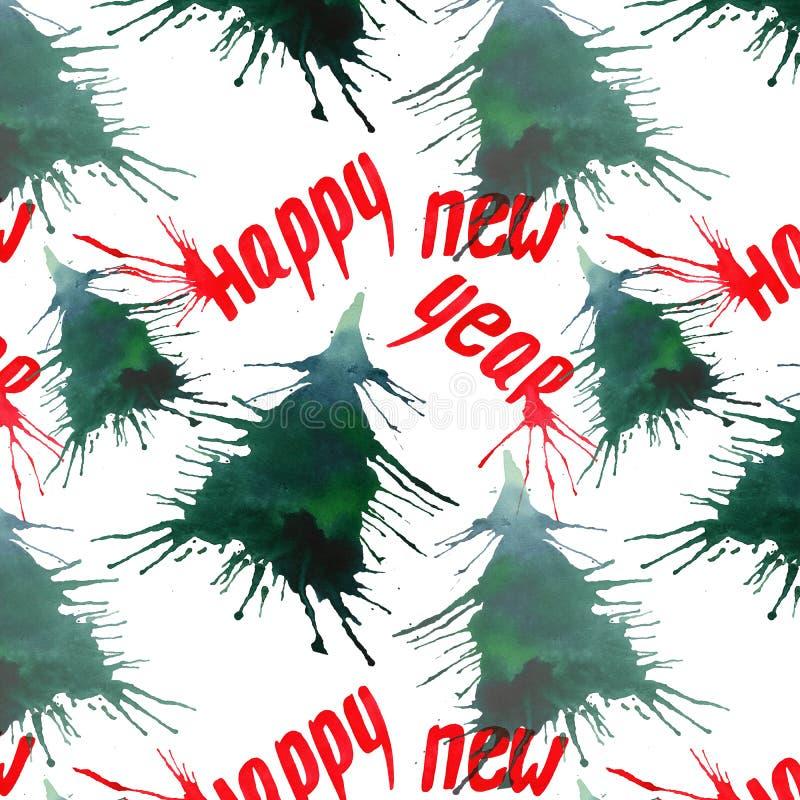 Деревья спруса зеленого цвета зимы праздника рождества абстрактные красивые художнические яркие с помарками и помечать буквами сч бесплатная иллюстрация