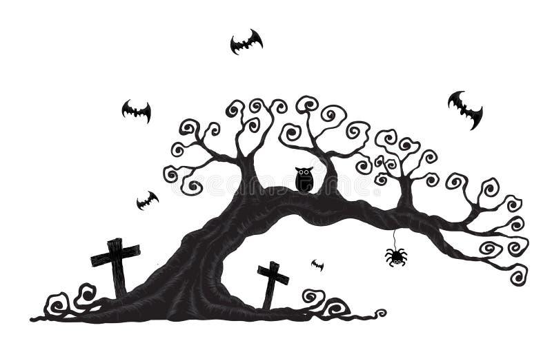Деревья хеллоуина иллюстрация штока