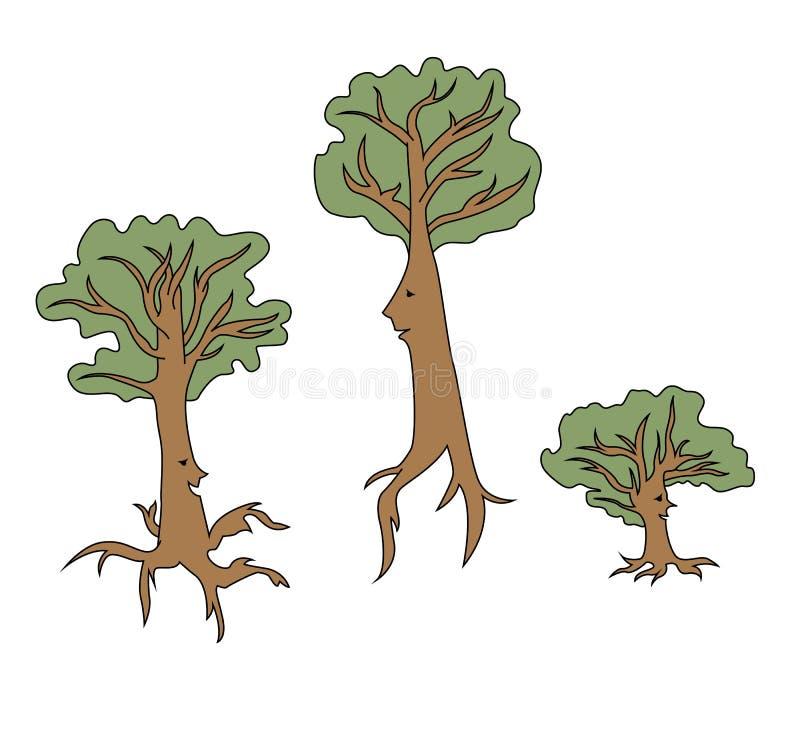 Деревья шаржа говоря иллюстрация вектора