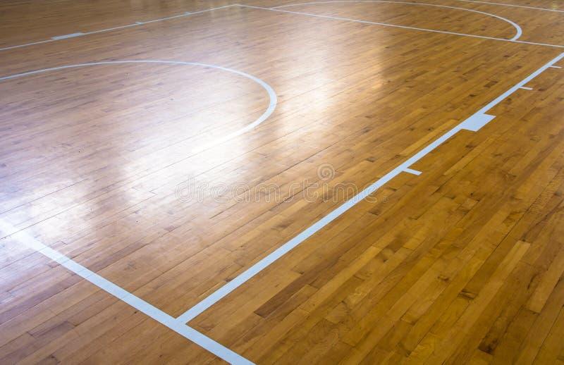 Деревянная баскетбольная площадка пола стоковые изображения