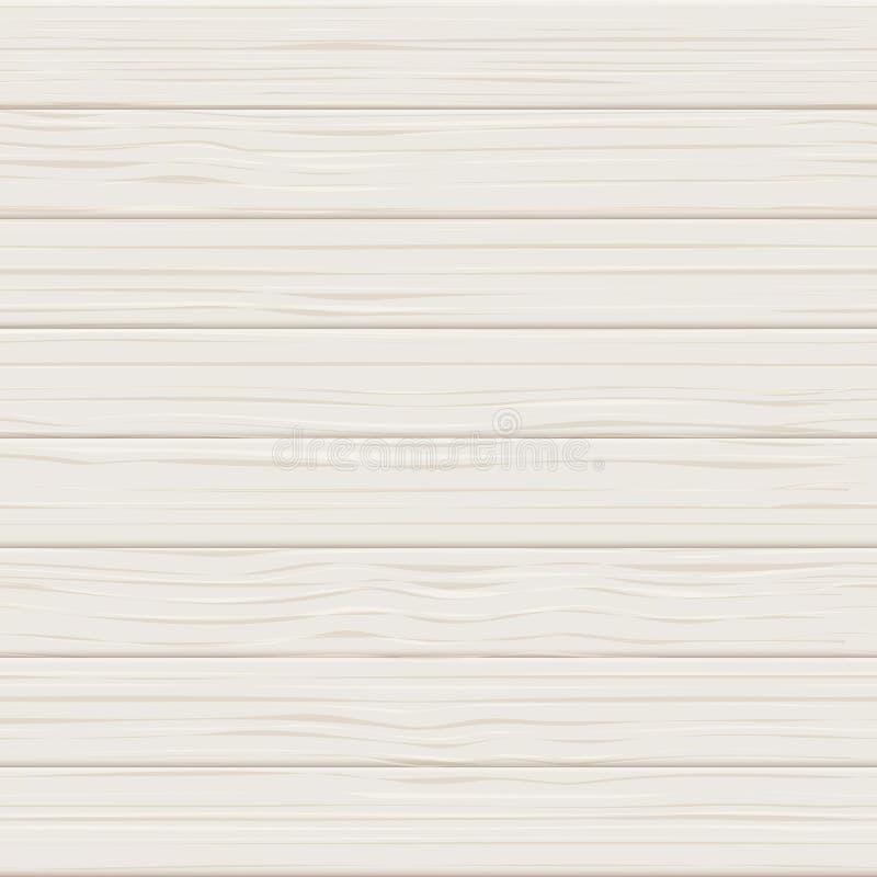 Деревянная белая безшовная реалистическая текстура Светлая деревянная предпосылка вектора планок Доска таблицы или иллюстрация по иллюстрация вектора
