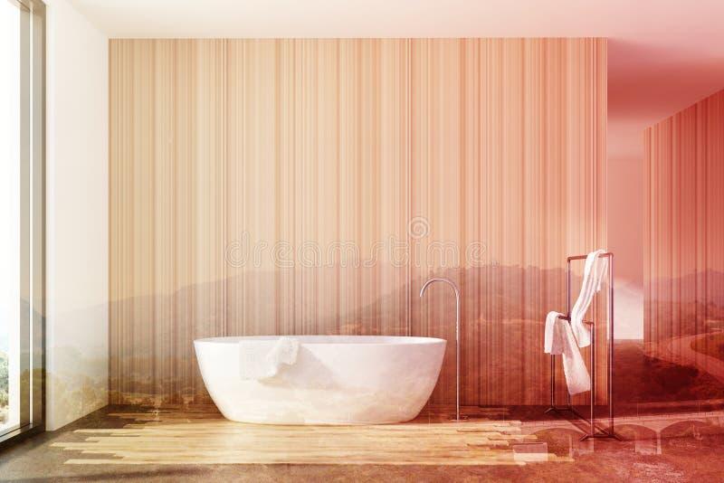 Деревянная ванная комната, белый ушат, двойной иллюстрация вектора