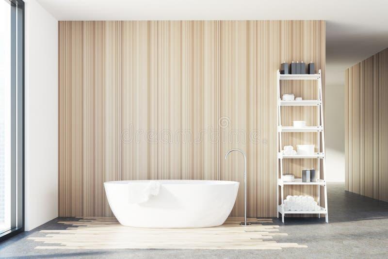 Деревянная ванная комната, белый ушат, полки иллюстрация вектора