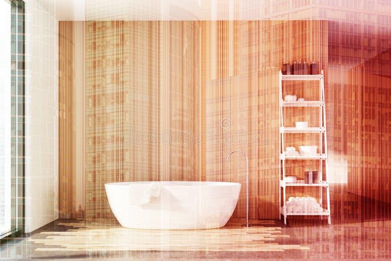 Деревянная ванная комната, белый ушат, shelves двойник иллюстрация вектора