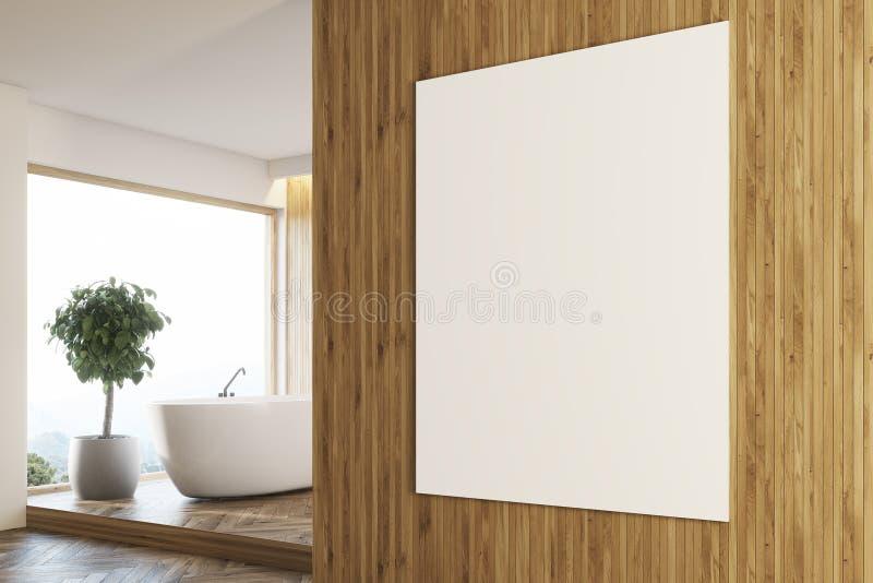Деревянная ванная комната, белый взгляд со стороны ушата иллюстрация штока
