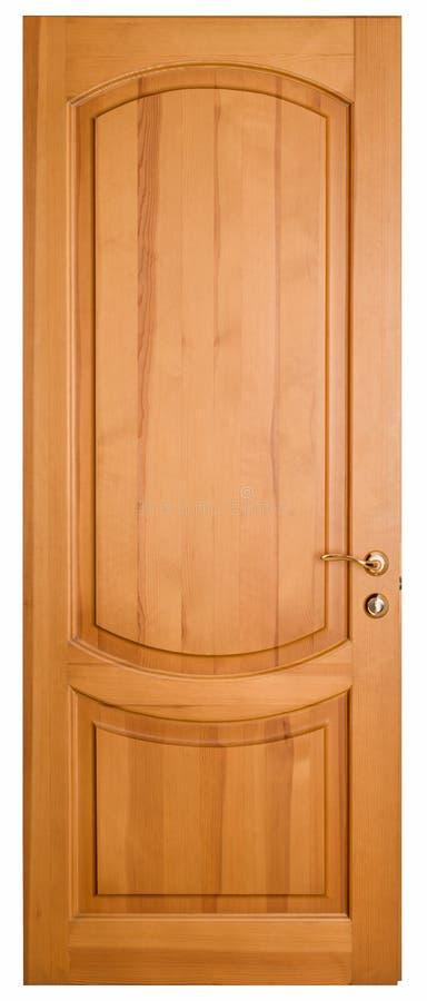 Деревянная дверь изолированная на белой предпосылке стоковое фото rf