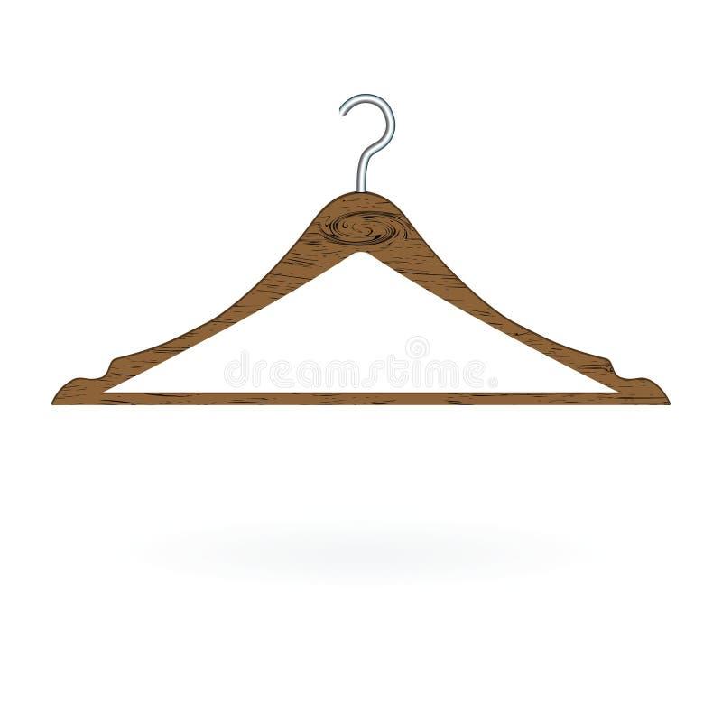 Деревянная вешалка одежд изолированная на белой предпосылке также вектор иллюстрации притяжки corel иллюстрация штока
