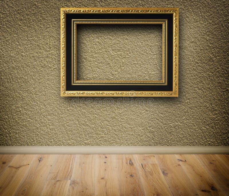 Деревянная винтажная рамка на стене иллюстрация вектора