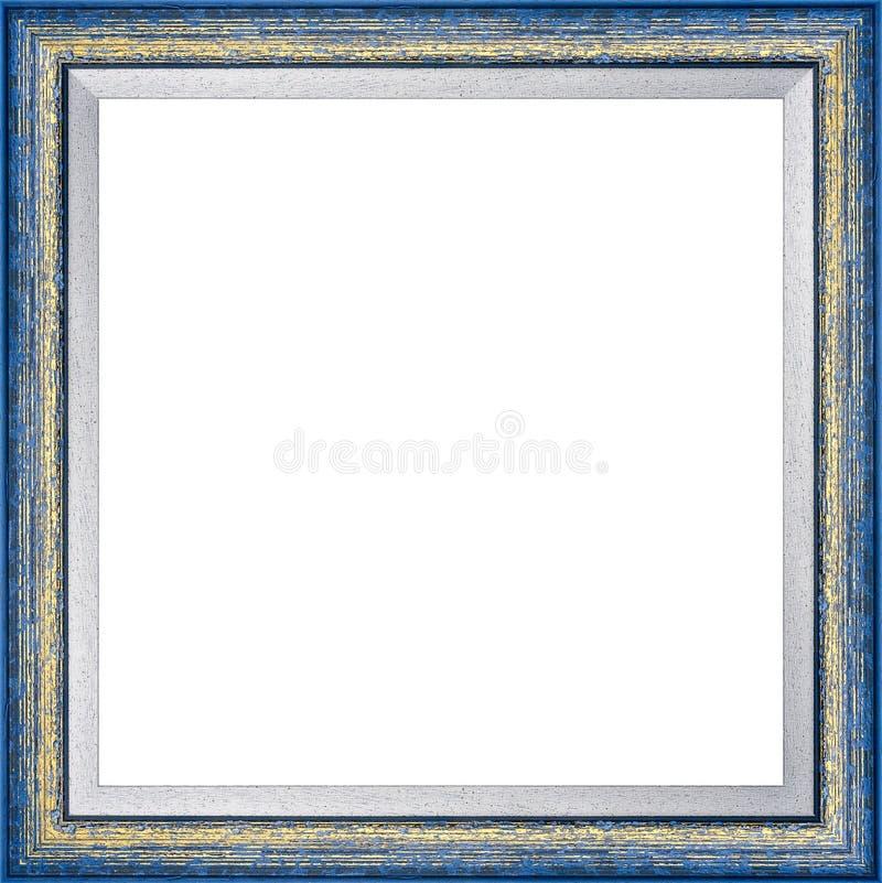 Деревянная голубая винтажная картинная рамка стоковая фотография rf