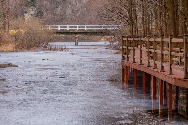 Деревянная дорожка наряду с замороженным рекой стоковые изображения