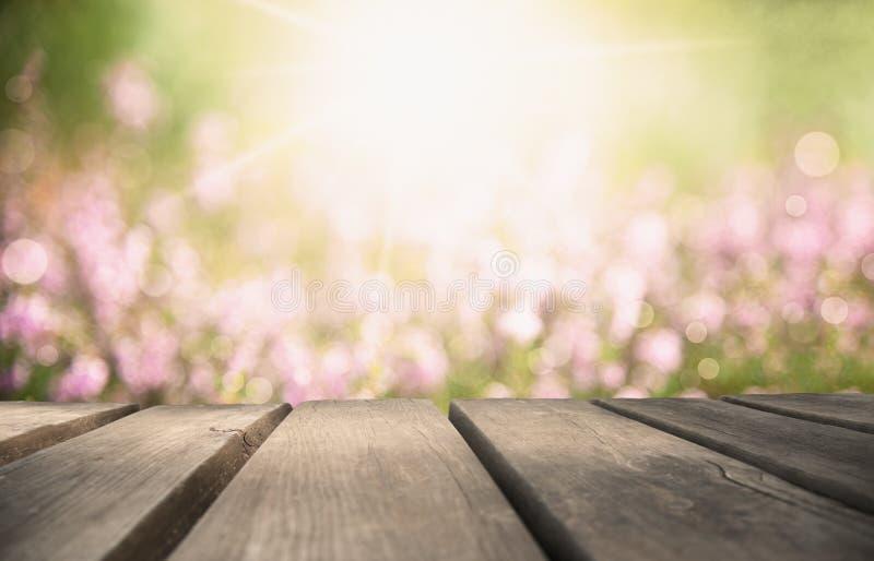 Деревянная доска с полем цветка Эрики как предпосылка, Bokeh стоковое фото rf