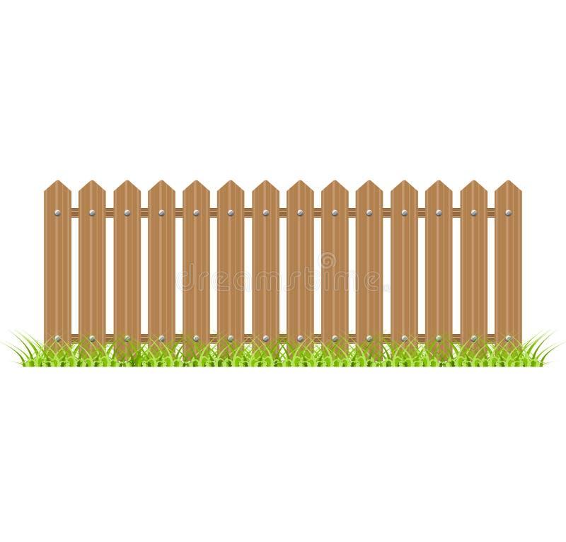 Деревянная загородка с травой иллюстрация штока