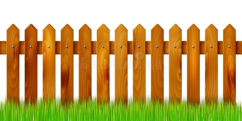Деревянная загородка и трава - изолированные на белой предпосылке иллюстрация вектора