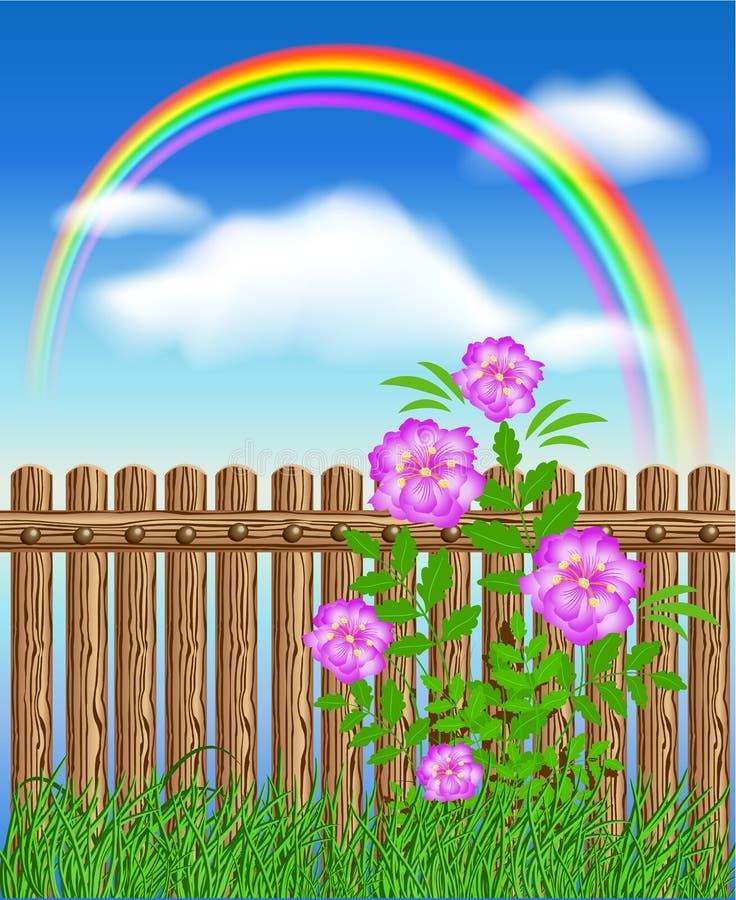 Деревянная загородка на зеленой траве с цветками бесплатная иллюстрация