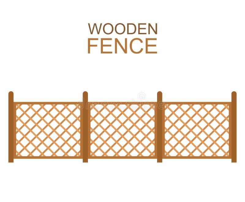Деревянная загородка от пересеченной стелюги на белой предпосылке иллюстрация вектора
