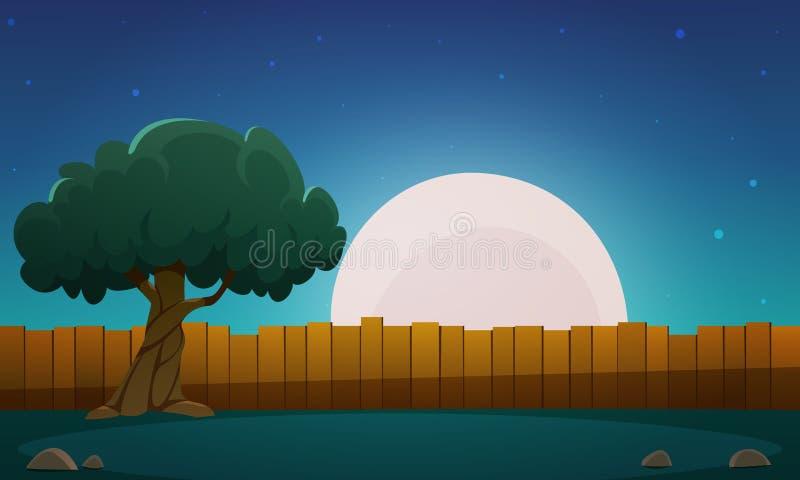 Деревянная загородка с деревом на nighttime иллюстрация вектора