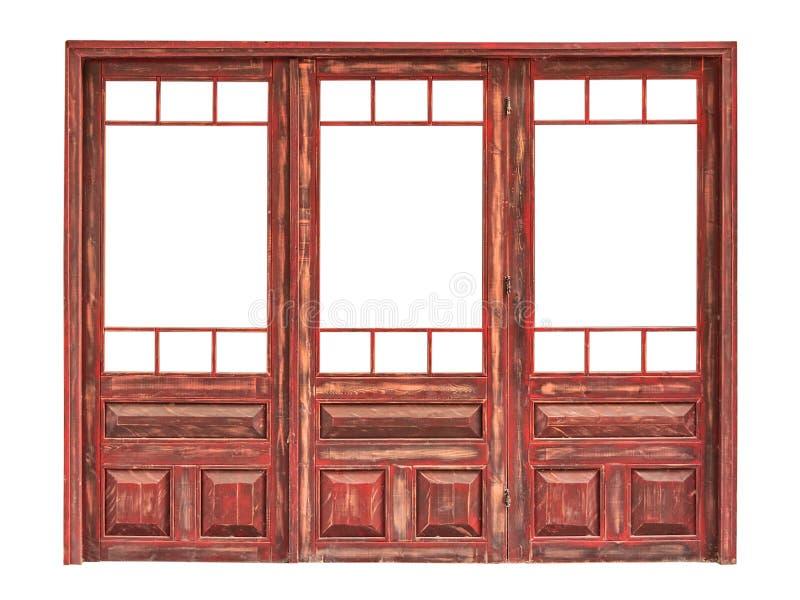 Деревянная застекленная панель изолированного фронта магазина стоковые фотографии rf