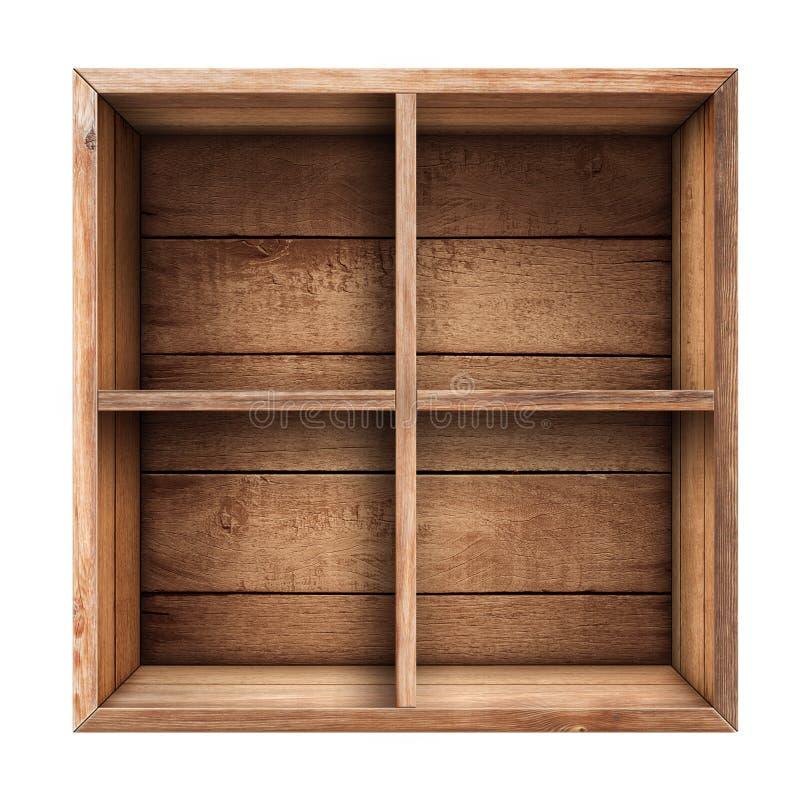 Деревянная изолированные коробка, полка или клеть стоковая фотография rf