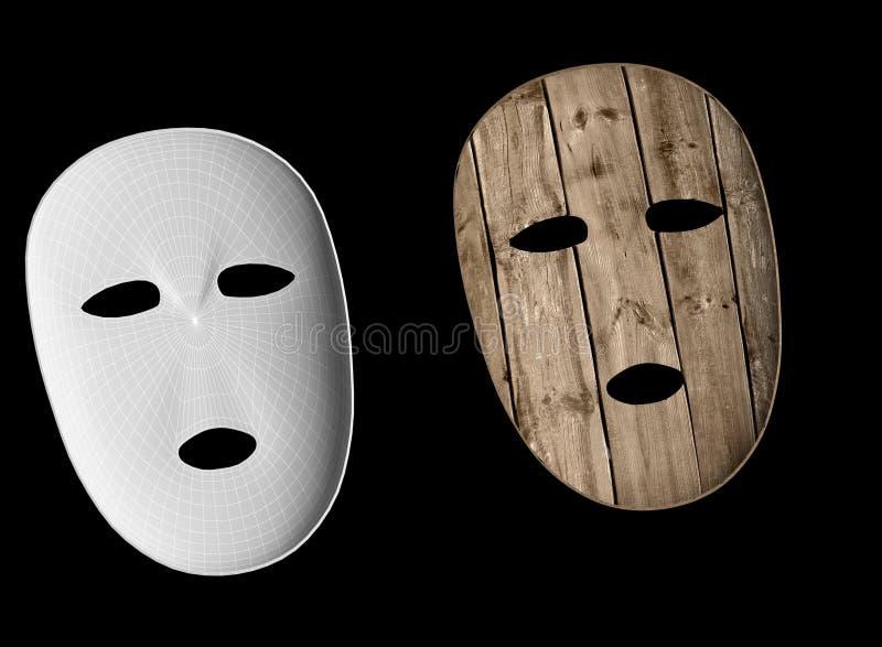 Деревянная иллюстрация маски 3d иллюстрация штока