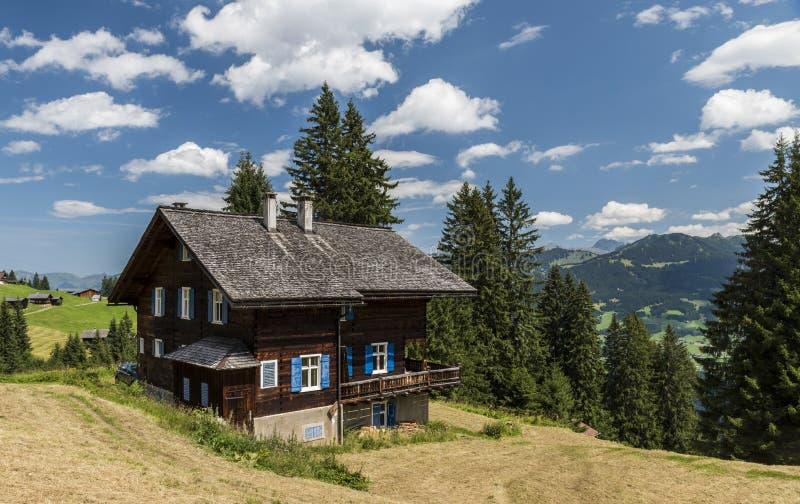 Деревянная кабина в горах, Matschwitz стоковые фото