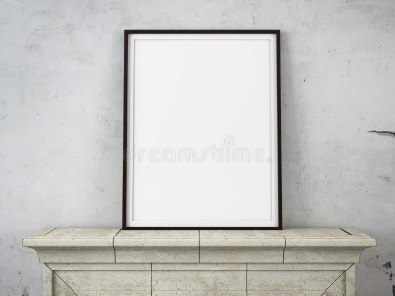 Деревянная картинная рамка на камине стоковое фото rf