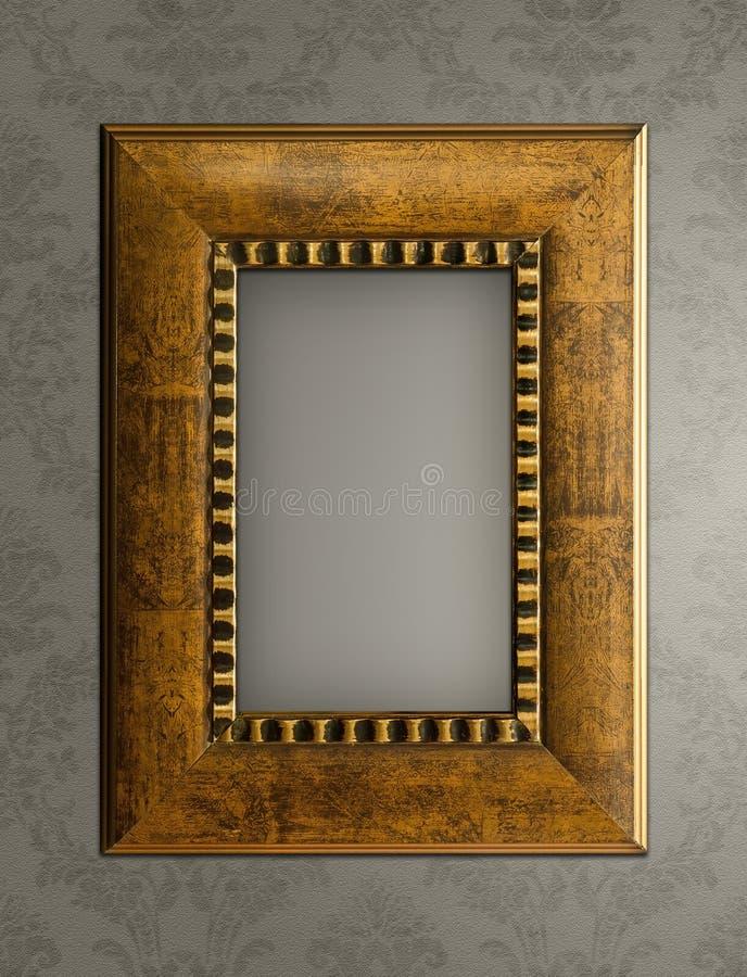 Деревянная картинная рамка на стене стоковое фото