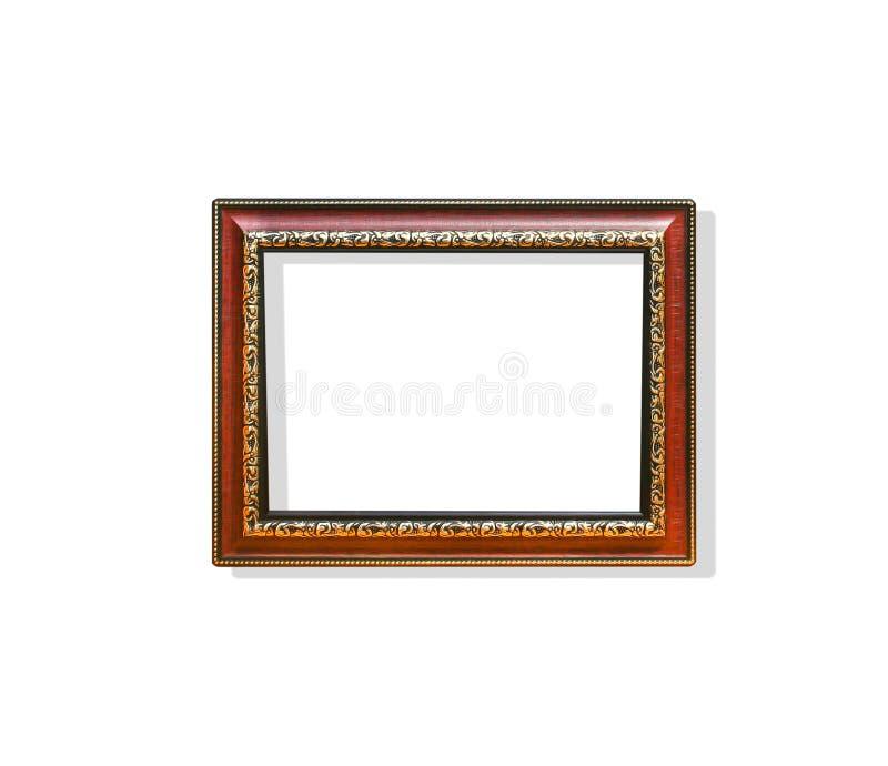 Деревянная картинная рамка прямоугольника с цветком высекая стальные картины ar вокруг изолированный на белом backgroun с путем к стоковая фотография rf