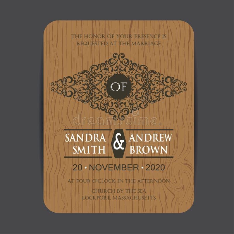 Деревянная карточка приглашения свадьбы бесплатная иллюстрация