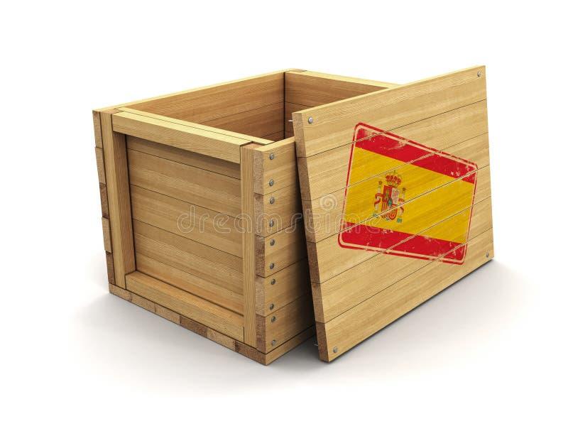 Деревянная клеть с флагом печати испанским Изображение с путем клиппирования иллюстрация вектора