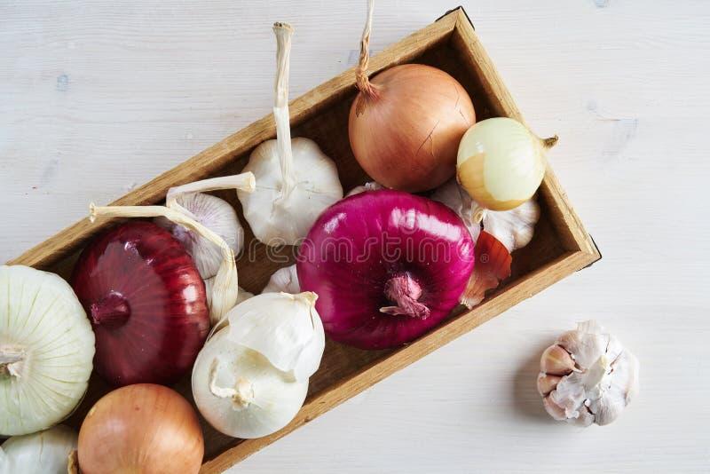 Деревянная коробка со свежими чесноком и луком на белой предпосылке Натюрморт с сырцовым овощем Концепция здоровой еды и питания стоковые изображения rf