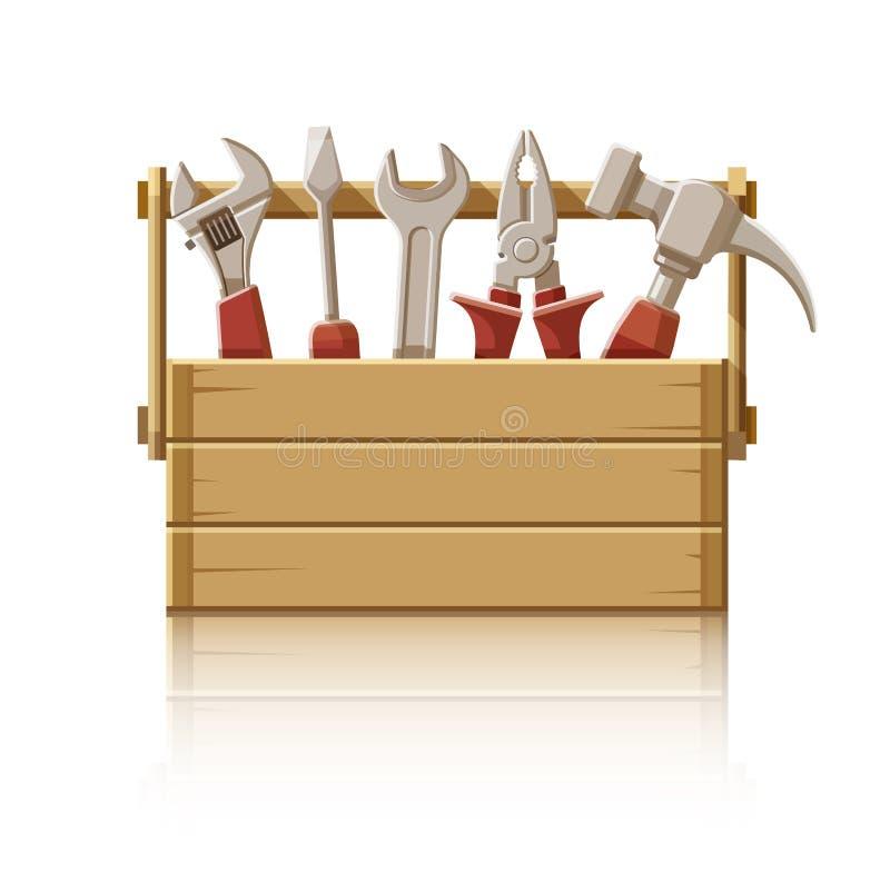 Деревянная коробка с инструментами конструкции иллюстрация штока