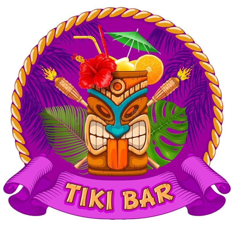 Деревянная кружка с маской Tiki и шильдиком бара бесплатная иллюстрация